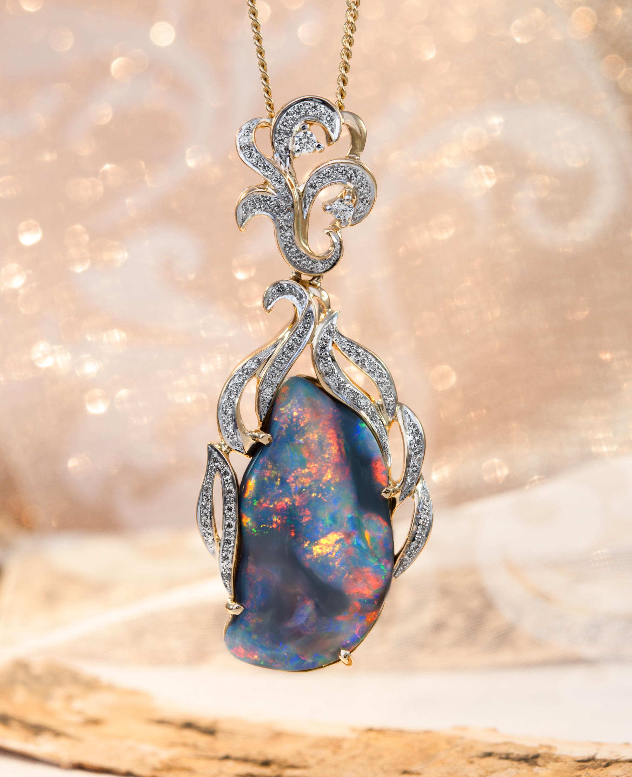 schwarzer opal anhänger